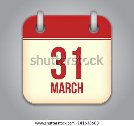 Vector calendar app icon. 31 March