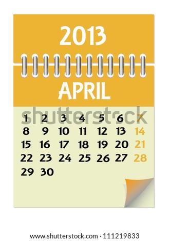 Vector calendar 2013 April