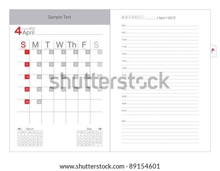 Vector calendar 2012 April