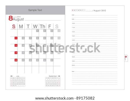 Vector Calendar 2012 August