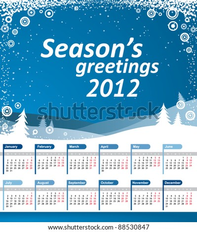 Vector Calendar 2012. Blue landscape with snowflakes and Season's greetings text