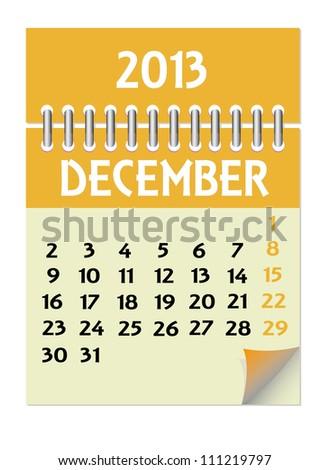 Vector calendar 2013 December