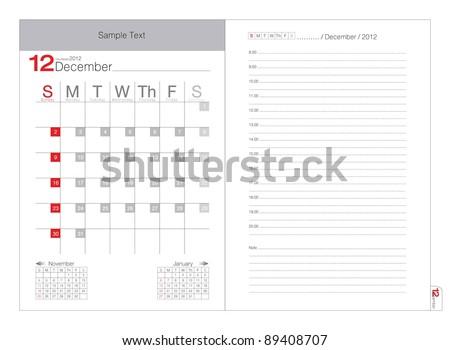 Vector calendar 2012 December