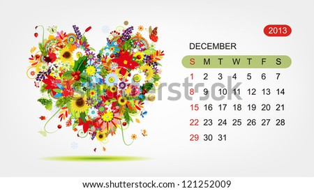 Vector calendar 2013, december. Art heart design - stock vector