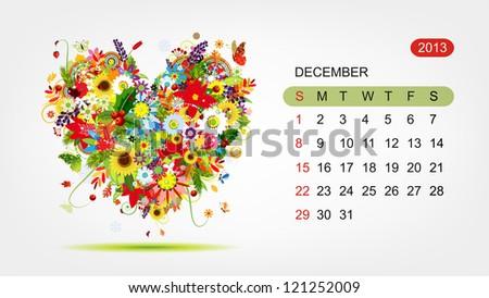 Vector calendar 2013, december. Art heart design