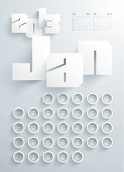 Vector 2013 Calendar Design - January