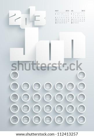 Vector 2013 Calendar Design - Jun