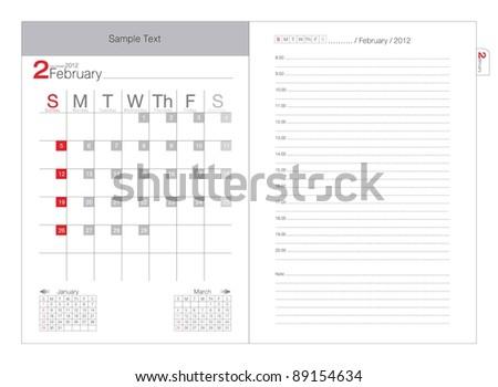 Vector calendar 2012 February