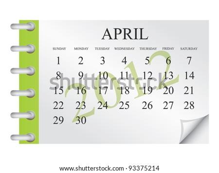 Vector calendar for April 2012