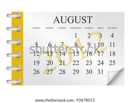 Vector Calendar for August 2012