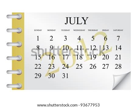 Vector Calendar for July 2012