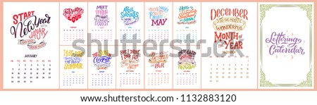 Vector calendar for months 2 0 1 9. Hand drawn lettering quotes for calendar design, Hand drawn style, vector illustration