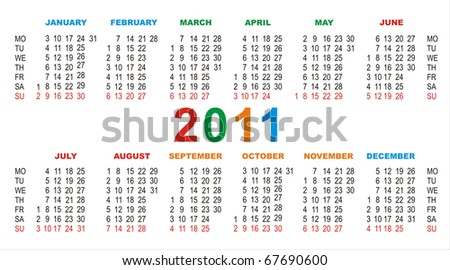 vector calendar for 2011 on a white background