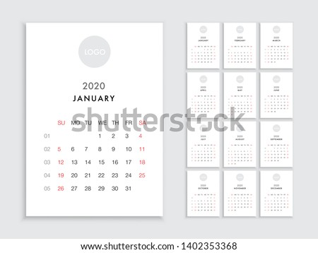 Vector calendar for 2020 year. Day planner calendar for 2020 the scheduler in this minimalist for print on a white background. Calendar planner set for template corporate design week start on Sunday
