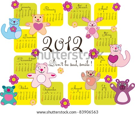 Vector Calendar for 2012 year with smile