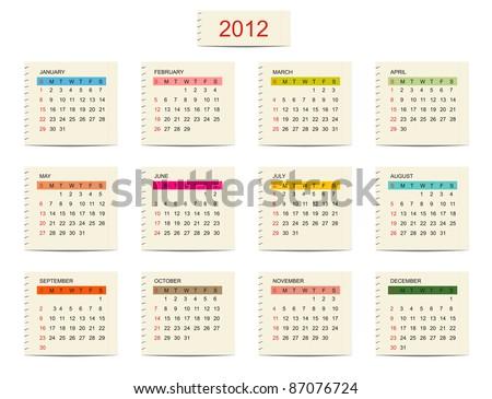 Vector calendar 2012 for your design - stock vector