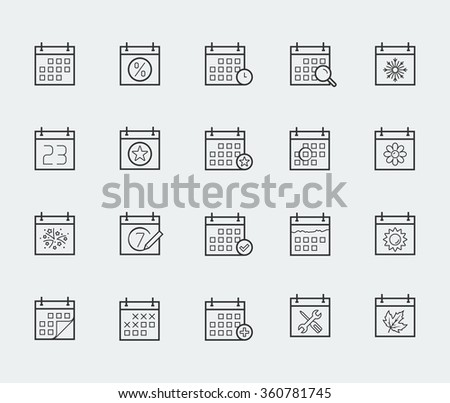 Vector calendar icon set in thin line style