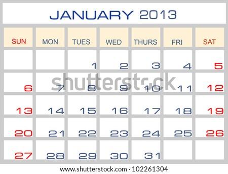 Vector calendar January  2013