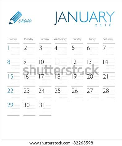 Vector calendar 2012 January Сток-фото ©