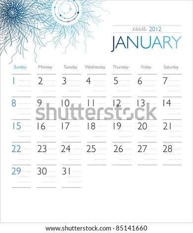 Vector calendar 2012 January