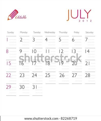 Vector calendar 2012 July - stock vector