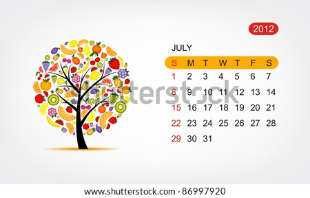Vector calendar 2012, july. Art tree design