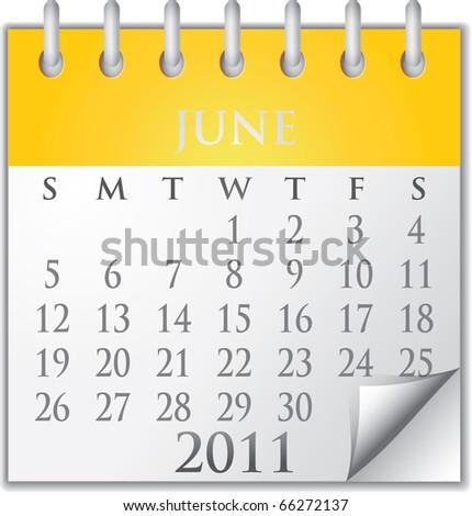 Vector Calendar June 2011