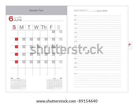 Vector calendar 2012 June