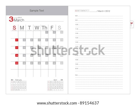 Vector calendar 2012 Mach