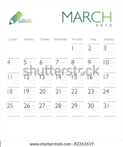 Vector calendar 2012 March