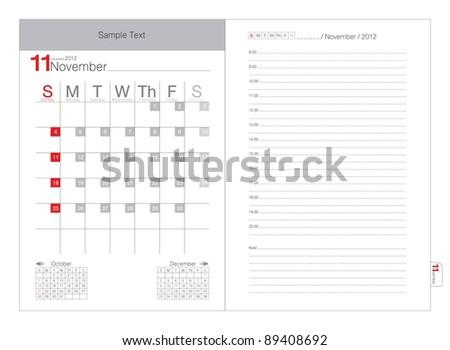 Vector calendar 2012 November