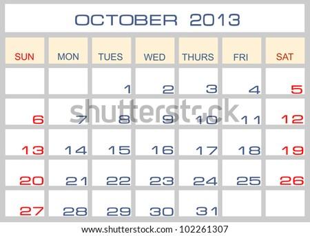 Vector calendar October 2013