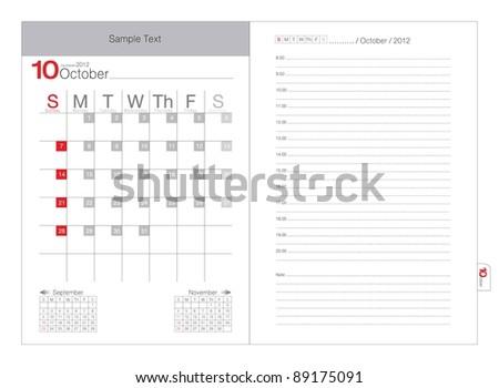 Vector Calendar 2012 October