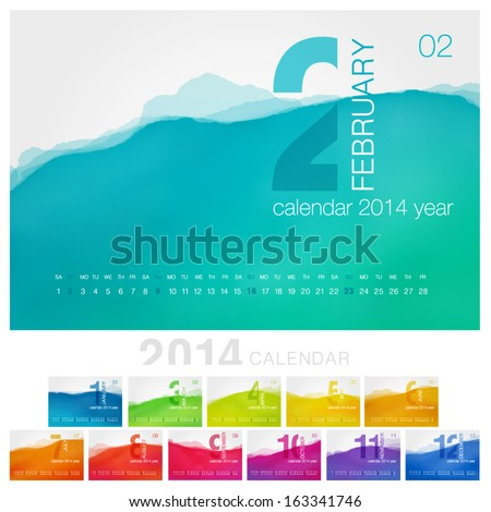 Vector calendar of 2014. Unique design for each month