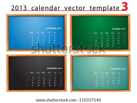 Vector calendar 2013 on blackboard background