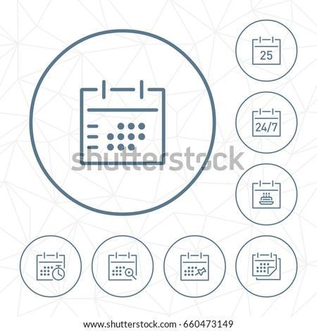 Vector calendar outline icon set in circle button.