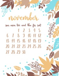 Vector calendar page for november 2016 with floral design. Autumn template on white isolated background.