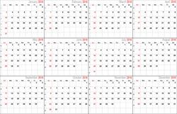 Vector calendar planner schedule 2016 week starts with Sunday