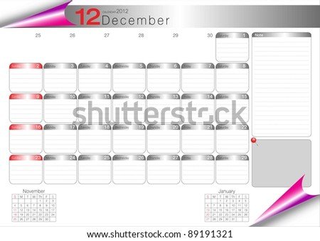Vector Calendar Table 2012 December