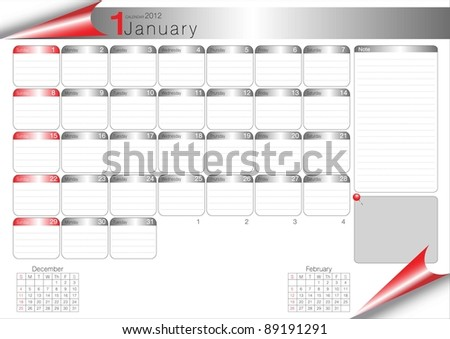 Vector Calendar Table 2012 January