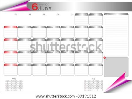 Vector Calendar Table 2012 June - stock vector