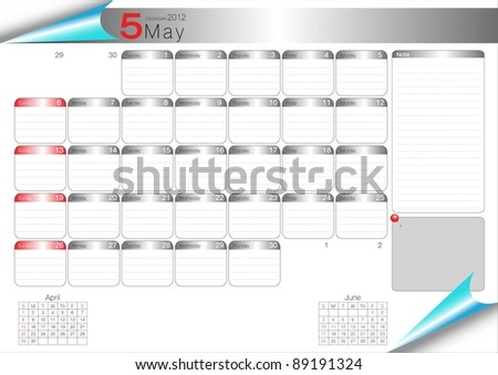 Vector Calendar Table 2012 May