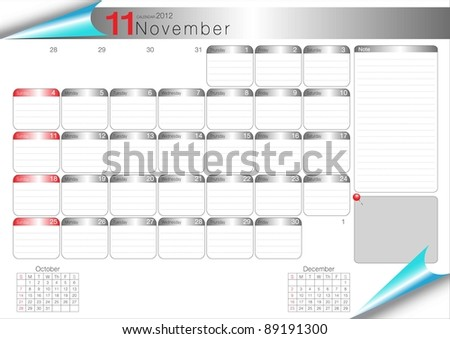 Vector Calendar Table 2012 November