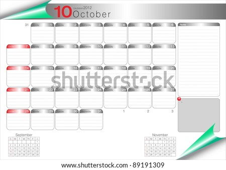 Vector Calendar Table 2012 October - stock vector