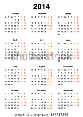 Vector calendar 2014 template design Blank Printable Editable
