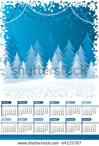 stock vector : Vector 2011 calendar with blue winter background. christmas
