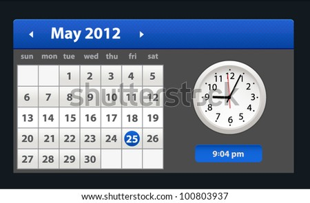 Vector calendar with clock isolated on background