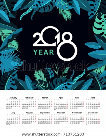 Vector calendar 2018 with exotic plants and tropical leaves