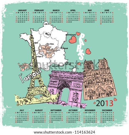 Vector calendar 2013 with french motive.