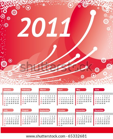 2011 Calendar Backgrounds. Vector 2011 Calendar with